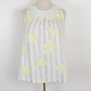 Vintage Floral and Stripe Collared Sleeveless Top